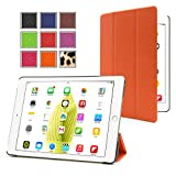 PrimeCases® Orange Thin PU Leather Magnetic Case Cover With Triangle Stand For Apple iPad Air 2