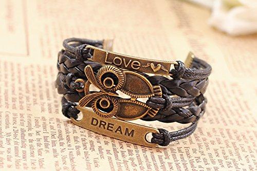 Wild Wind Owl Lucky Happineess Multi Strand Wrap Bracelet
