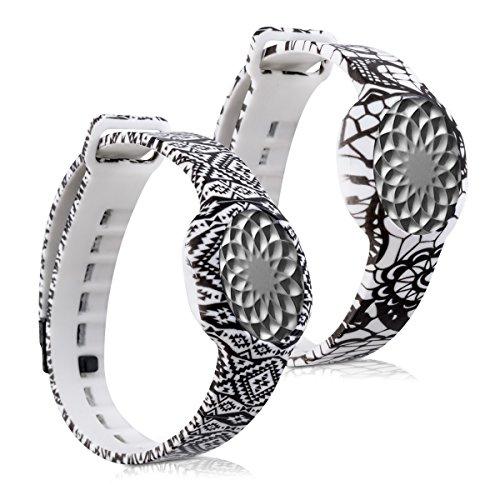 kwmobile 2en1: 2x Bracelet de remplacement sport pour Jawbone UP Move en noir blanc, noir blanc, Dimensiones interiores: approx. 15,5 - 23 cm