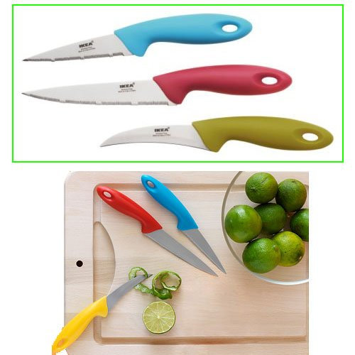 Ikea Slipad 3-piece Utility Knife Set, Assorted Colors