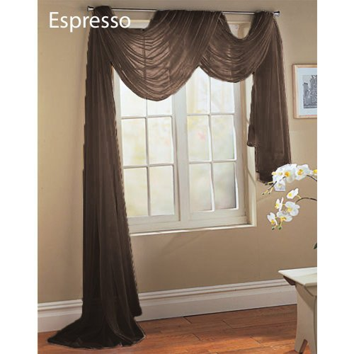 "Solid Coffee Espresso Sheer Scarf Valance With Rod Pocket 216"" Long Scarves"