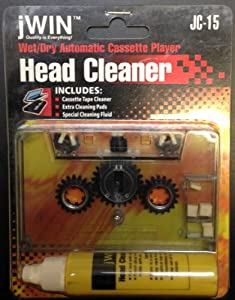 jWIN JC-15 Wet/Dry Automatic Cassette Player Head Cleaner, Includes Extra Cleaning Pads and Special Cleaning Fluid, UPC 639247750159