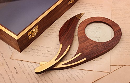 Wooden & Brass Letter Envelope Opener & Magnifier Magnifying Glass with Box, Desk Accessories