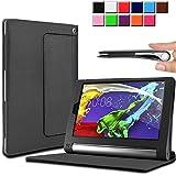 Infiland Lenovo タブレット YOGA Tablet 2 SIMフリー 8インチ 超薄型 超軽型レザー保護ケース スマートオートスリープケース (Lenovo YOGA Tablet 2 8インチ, ブラック)