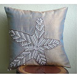 Starfish Sparkle - Decorative Pillow Covers - Silk Pillow Cover Embellished with Beads &amp; Sequins