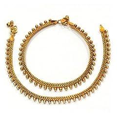 Satyam Jewellery Nx Traditional Pearl Anklets/Payal For Women Fashion Jewellery (Wedding Season)