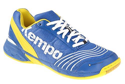 Kempa Attack Three, Scarpe da Pallamano Unisex - Adulto, Multicolore (Bleu Roi/Blaz Jaune/Blanc), 43 EU