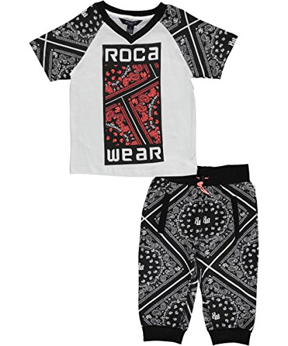 Rocawear Little Boys 2 Piece Printed T-Shirt with French Terry Printed Capri Jogger Set, Black, 6