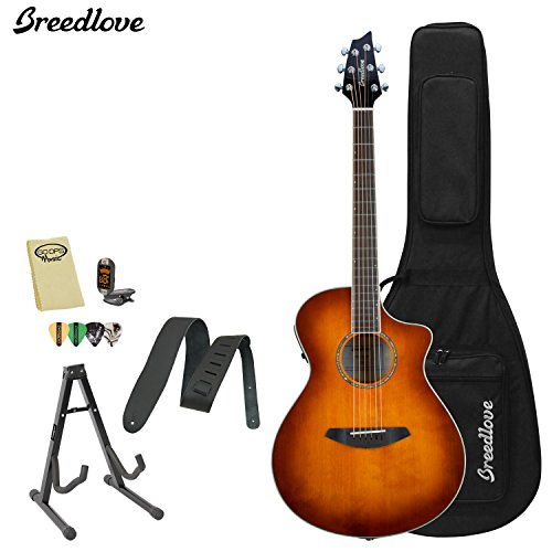 Breedlove Studio Concert Acoustic Electric Guitar With Chromacast Strap, Stand, Picks, Tuner, Godpsmusic Polish Cloth, And Breedlove Deluxe Foam Shell Case