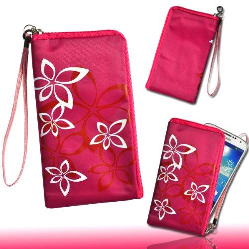 Handy Tasche Case Hülle Flower pink / weiß M71 Gr.4 für Samsung C3312 Rex60 / S5222R Rex80 / Galaxy Young S6310 / Galaxy Young Duos S6312 / Galaxy Pocket Plus S5301 / Samsung Galaxy Pocket Neo S5310 / Alcatel OT 903D / Alcatel OT Star 6010D