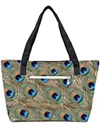 Pack Of 2 Peacock Feathers Combo Tote Shopping Grocery Bag With Coin Pencil Purse
