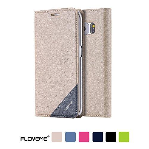 Floveme Samsung Galaxy S7 edgeケースPUレザー 手帳型 カード収納 横置きスタンド機能付き スマホケース (Samsung S7 edge , ゴールド)
