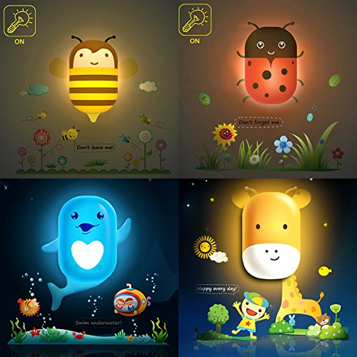 Lslight Intelligent Night Light With Sensor Cute Wall Sticker Lamp Various Cartoon Pattern Wallpaper Night Light for Kids Room (Ladybug)