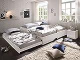 Kinderbett-wei-90x200-CRAVOG-Aufklappbar-lackiert-Massivholz-Holzbett-mit-Rollrost-fr-Kinder-und-Gste-3pcs-Betten