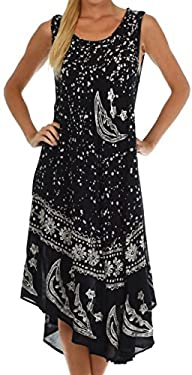 Sakkas Women's Batik Moon and Stars Caftan Tank Dress