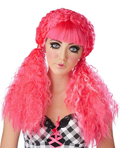New Wave Doll Adult Wig Hot Pink Womens Costume Accessory Crimped Hair Ponytails