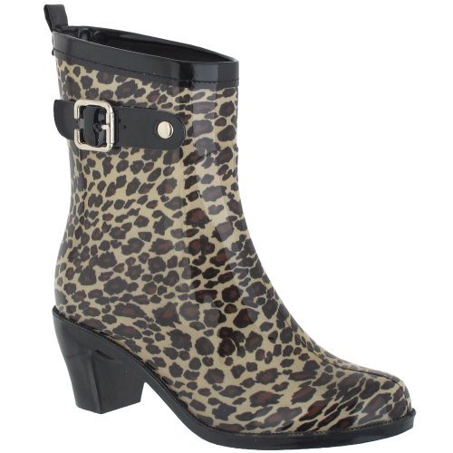 Capelli New York Leopard With Leather Buckle And Pull Loop Ladies Heeled Rain Boot