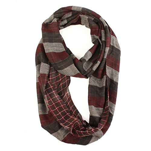Mens-Light-Soft-Preppy-2-Sided-Plaid-Cowl-Long-Circle-Loop-Infinity-Scarf-Wine