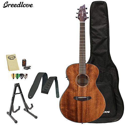 Breedlove Pursuit Concert Mahogany Acoustic Electric Guitar With Chromacast Strap, Stand, Picks, Tuner, Godpsmusic Polish Cloth, And Breedlove Gig Bag