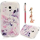 Lanveni Gemalt TPU Serie Etui Schutzh�lle Sch�ne Blumen H�lle case f�r Samsung galaxy S3 Mini I8190 Fall Transparent Abdeckung Hard back Cover*Anh�nger Quaste Opal Strass Staub Schutz Bling Glitter Headset 3.5 mm Staubschutz Glitzer Diamant Kristall St�psel Anti-Dust Plug Anti-Staub-Stecker Kappe Headset Earphone Buchse Klinke *Regenbogen Serie Bling Metallisch Kapazitive Stift Pen Stylus/Styli Handy Phone Tablet Pen