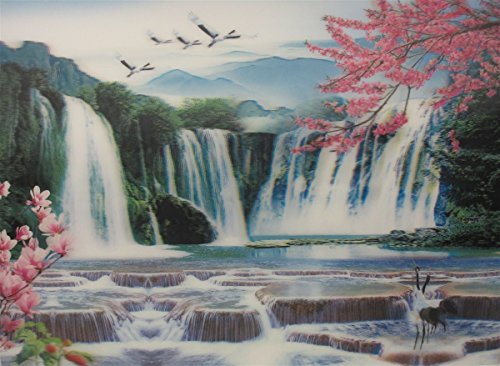 Poster & Print 3d picture of cranes flying over HuangGuoshu water falls , great for Home Decoration (Crane Pictures compare prices)