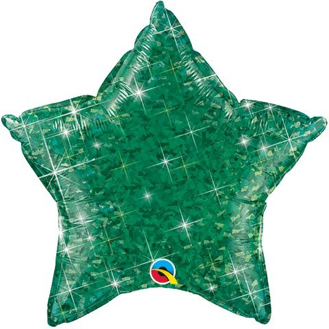 "Green Holographic Star Shaped 20"" Mylar Foil Balloon"