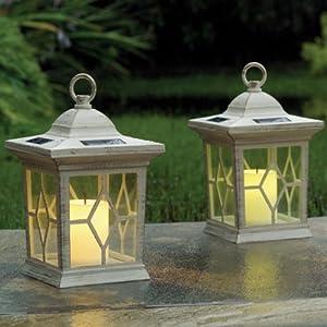 SET OF 2 SOLAR FLICKERING CANDLE LANTERN LIGHTS GARDEN PATIO MOOD LIGHTING