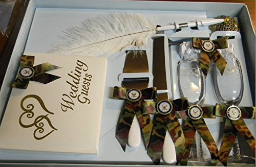 Wedding Camo Military Navy Guest Book Pen Glasses Cake Knife 8 Psc