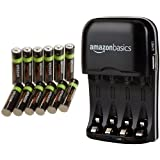 AmazonBasics AAA Rechargeable Batteries (12-Pack) and Ni-MH AA & AAA Battery Charger With USB Port Set (Tamaño: AAA 12 Pack)