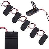 Demiawaking 5Pcs DIY電池BOXボックス 蓋 スイッチ付き 電池ケース CR2032ボタン電池x2用 ブラック