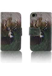 Deer Camo Tree Leather Wallet Purse clutch Handbag iPhone 4 4s Case Cover ID,Credit Card,Cash