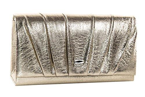 Pochette donna elegante GIANMARCO VENTURI borsetta da sera oro con strass N565
