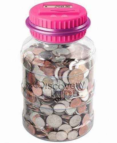 Discovery Kids Coin Counting Money Jar Electronic Bank Digital Coin Counter Pink - 1