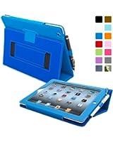 Snugg™ - Étui Pour iPad 2 - Smart Cover Avec Support Pied Et Une Garantie à Vie (En Cuir Bleu) Pour Apple iPad 2
