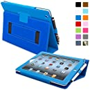 Snugg iPad 2 Case - Smart Cover with Flip Stand & Lifetime Guarantee (Electric Blue Leather) for Apple iPad 2