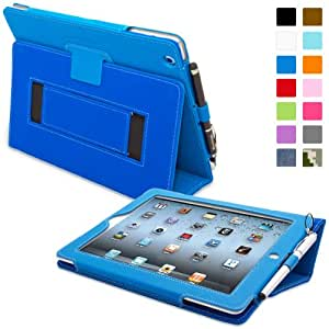 iPad 2 Case, Snugg™ - Smart Cover with Flip Stand & Lifetime Guarantee (Electric Blue Leather) for Apple iPad 2