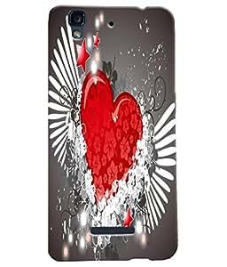 Fuson Heart Pattern Back Case Cover for MICROMAX YU YUREKA - D3702