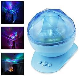 WONFAST Diamond Style Color LED Changing Sea Stars Aurora Borealis Projector Night Light with Bulit in Speaker Lamp for Nursery Kids Bedroom Living Room Decorative Lighting (Blue)