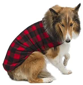 Legitimutt Buffalo Reversible Plaid Fleece Dog Coat, Size 24, Red/Black
