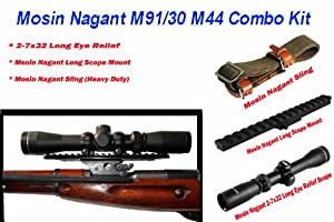 Mosin Nagant 91 30 2-7x32 Long Eye Relief w Long Scope Mount & Military Green Heavy... by Ultimate Arms Gear