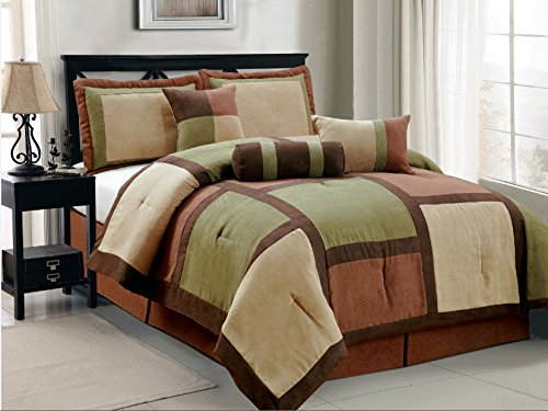 7 Piece Annasy Sage Green Brown Beige Bed In A Bag Micro Suede King Comforter Set front-994152
