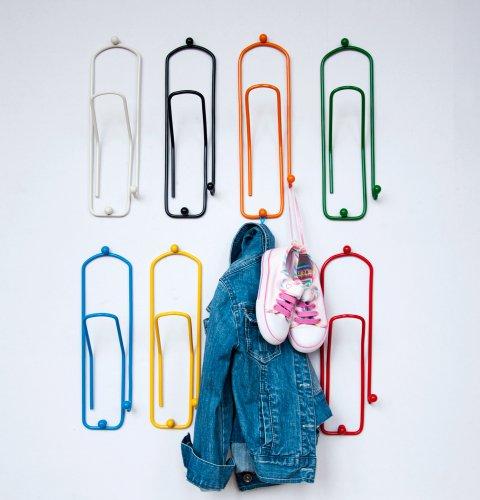 """Designer Kleiderhaken """"Büroklammer"""" 32cm Garderobe Wandhaken Klammer Haken aus Metall (Rot)"""