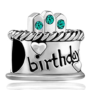 Pugster December Birthstone Birthday Cake Blue Crystal Candles Gift Holiday Beads Fits Pandora Charm Bracelet