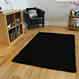 "LUXURY SUPER SOFT BLACK SHAGGY RUG 7 SIZES AVAILABLE 60cmx110cm (2ft x 3ft7"")"