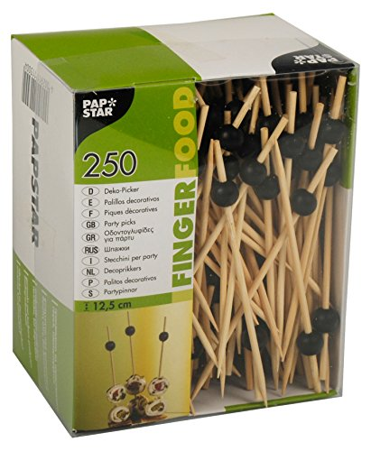 Papstar 11300 Grand 250 amuse-bouches, brochettes, Black Pearl, 12,5 cm