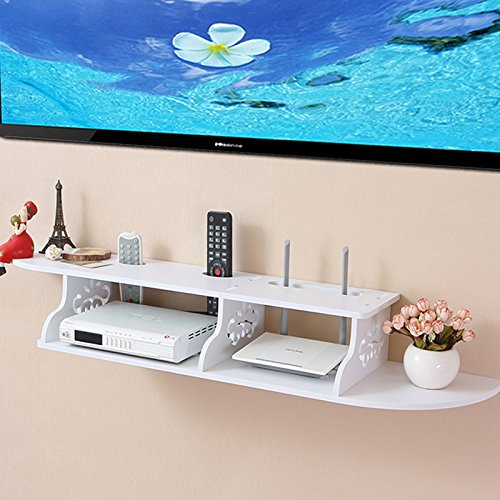 Tribesigns Modern Carved 2 Tier Wall Mount Floating Shelf Storage Rack for DVD Players / Cable Boxes / Games Consoles and TV Component, White (Shelves For Consoles compare prices)