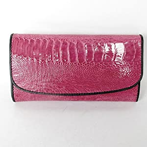 Genuine Leg Ostrich This Trifold Clutch Wallet Color Hot Pink from HelloThailand