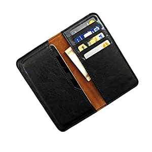 i-KitPit : PU Leather Wallet Flip Pouch Case Cover For Lava Iris 500 (BLACK)