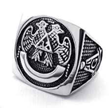 buy Silver Black Tone Freemasonry 316L Stainless Steel Men'S Ring -- Aooaz Jewelry