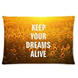 Keep Your Dreams Alive Golden Sunflower Personalized Rectangle Pillow Case 24x16 (one side)